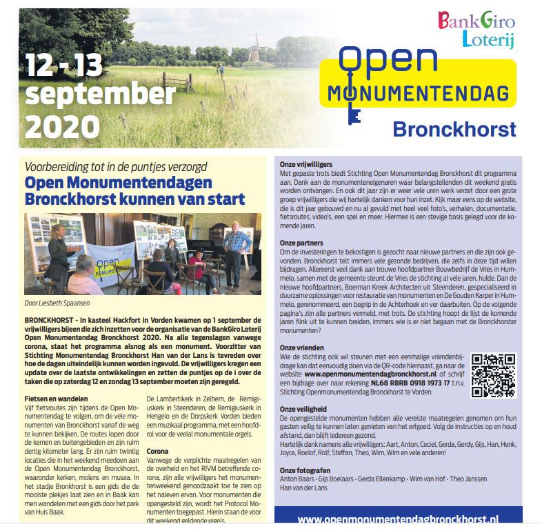 Brochure Open Monumentendag 2020