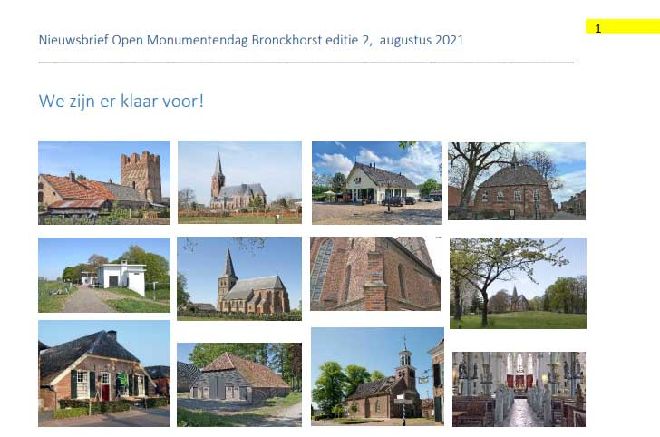 Nieuwsbrief 2 Open Monumentendag Bronckhorst